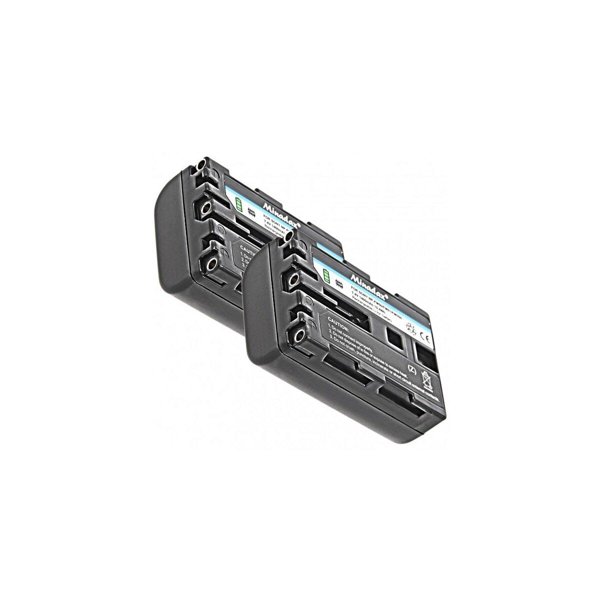 2x Minadax Qualitätsakku mit echten 1400 mAh kompatibel für Sony Cybershot DSC-F707 DSC-F717 DSC-F828 DSC-S30 DSC-S50 DSC-S70 DSC-S75 DSC-S85 DSLR-A100 MVC-CD200 - Ersatz für NP-FM50
