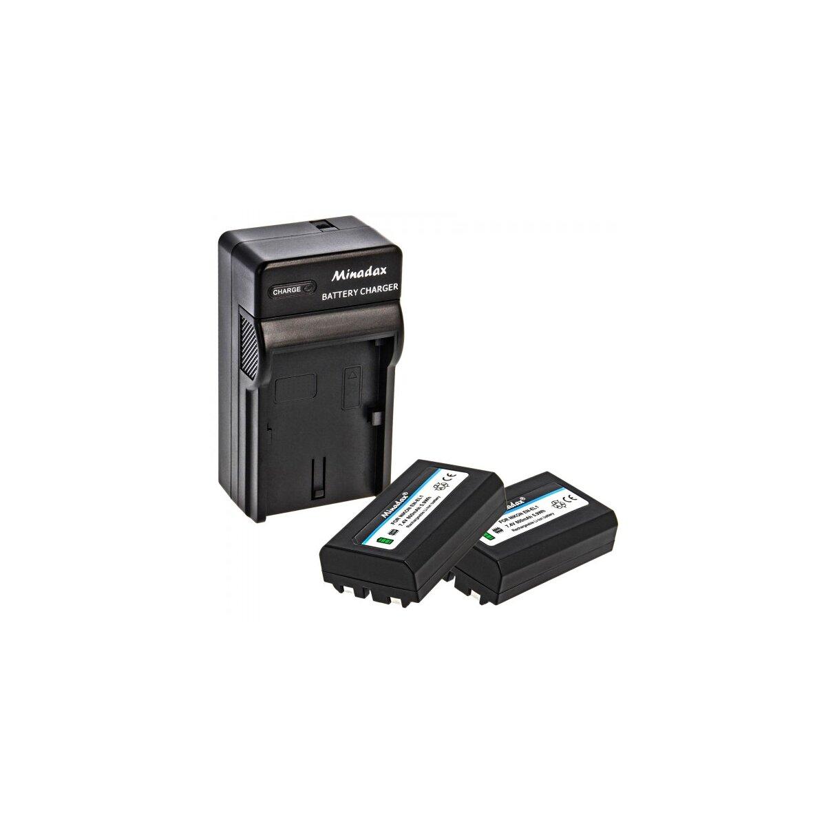 Minadax® Ladegerät 100% kompatibel mit Nikon EN-EL1 inkl. Auto Ladekabel, Ladeschale austauschbar + 2x Akku Ersatz für EN-EL1