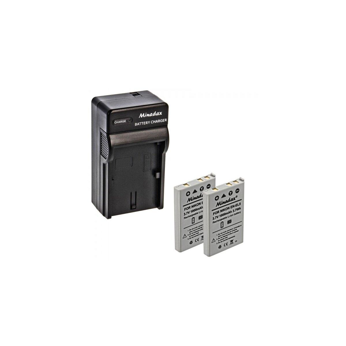 Minadax® Ladegerät 100% kompatibel mit Nikon EN-EL5 inkl. Auto Ladekabel, Ladeschale austauschbar + 2x Akku Ersatz für EN-EL5