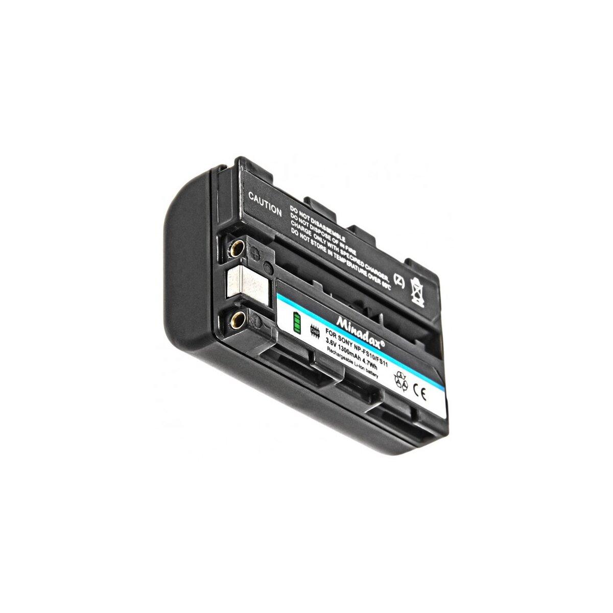 Minadax Qualitaetsakku mit echten 1300 mAh kompatibel für Sony DCR-PC2 PC3 PC4 PC5 TRV1VE F55K F55V IP220 IP5 IP55 IP7 PC1 etc. Ersatz für NP-FS11 - Intelligentes Akkusystem mit Chip