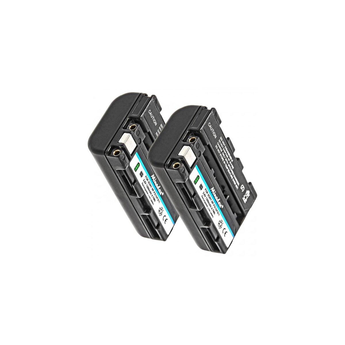 2x Minadax Qualitätsakku mit echten 1300 mAh kompatibel für Sony DCR-PC2 PC3 PC4 PC5 TRV1VE F55K F55V IP220 IP5 IP55 IP7 PC1 Ersatz für NP-FS11 - Intelligentes Akkusystem mit Chip