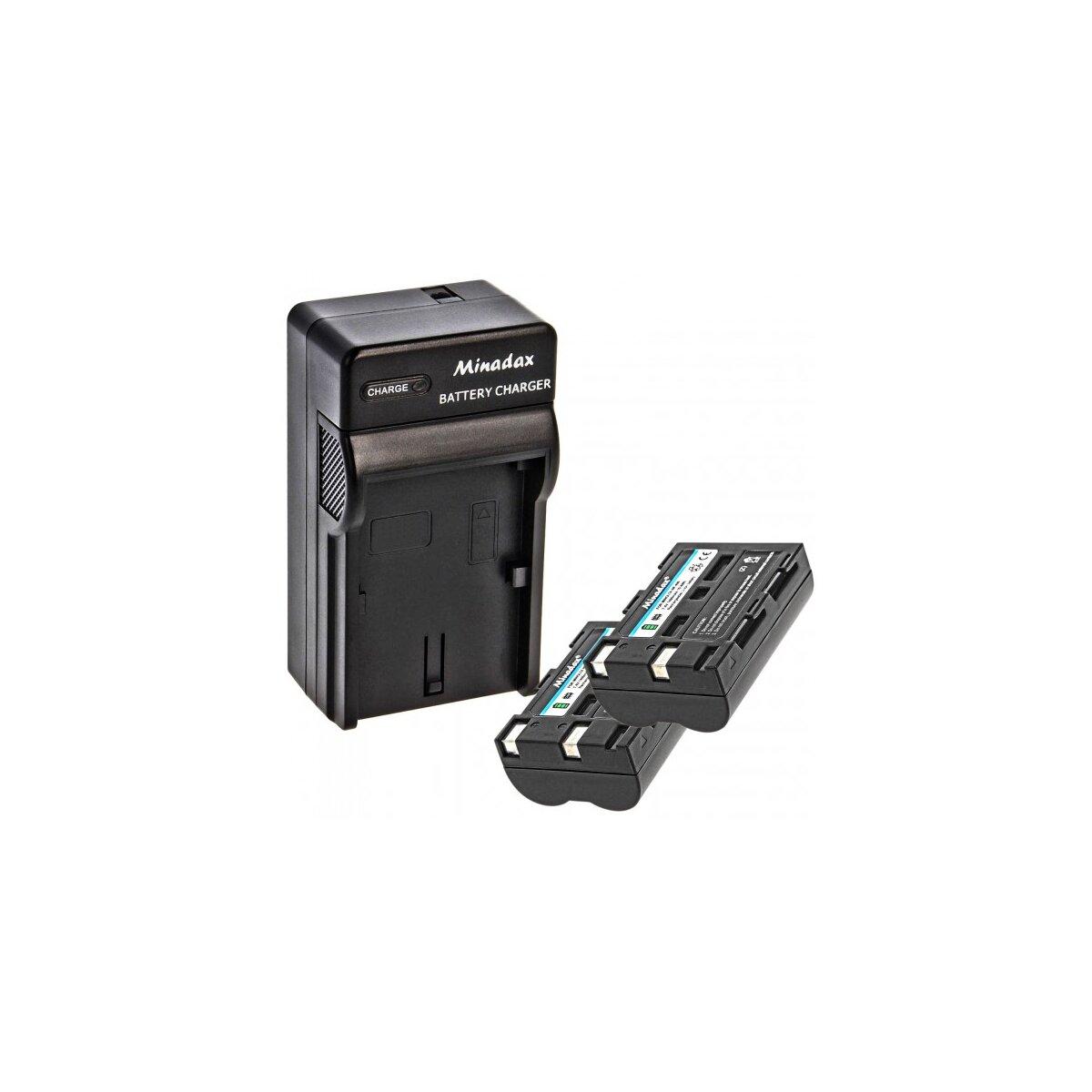Minadax® Ladegeraet 100% kompatibel fuer Minolta NP-400 inkl. Auto Ladekabel, Ladeschale austauschbar + 2x Akku wie NP-400