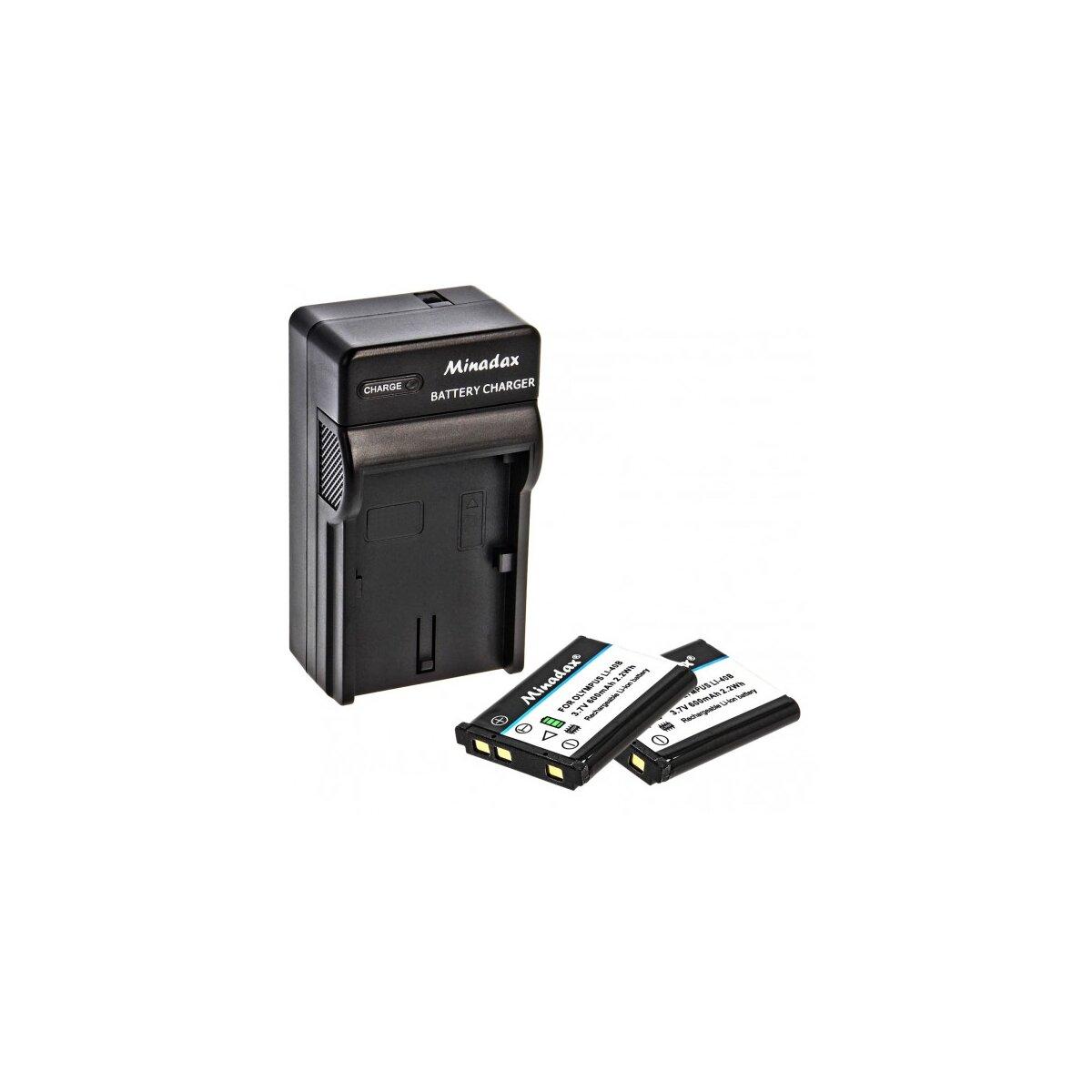 Minadax® Ladegeraet 100% kompatibel fuer Olympus LI-40B / LI-42B inkl. Auto Ladekabel, Ladeschale austauschbar + 2x Akku wie LI-40B / LI-42B