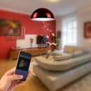 Minadax® LED Lampe mit Bluetooth Lautsprecher ca. 15m Reichweite in Rot  E27  4,5 Watt A++  LED Kaltweiß Leuchtmittel, 400-460 Lumen