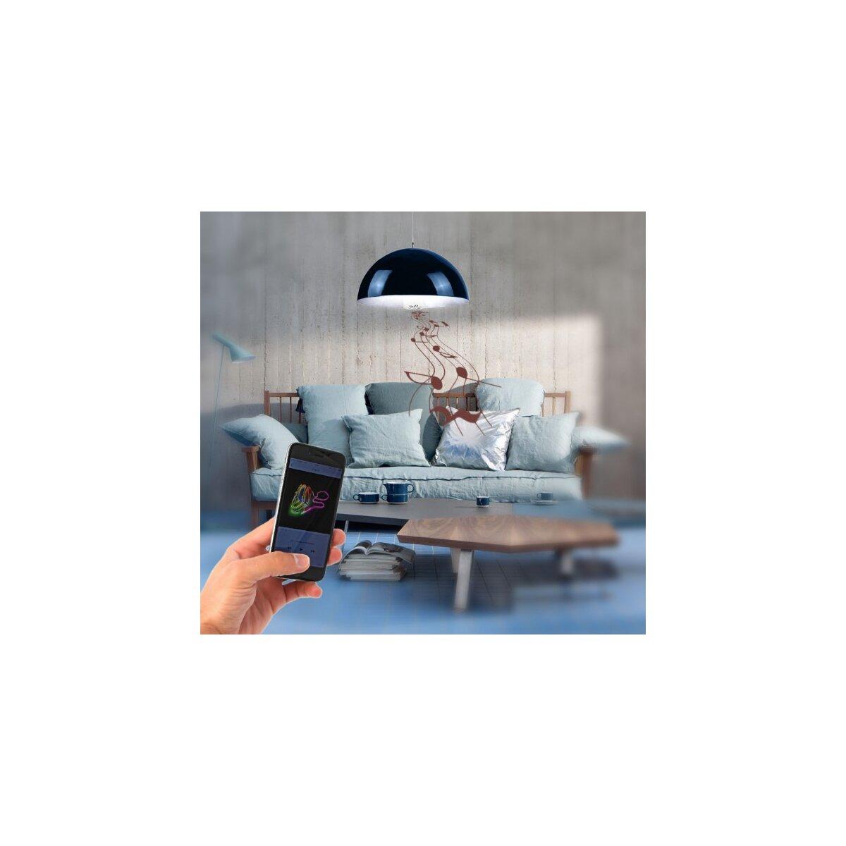 Minadax® LED Lampe mit Bluetooth Lautsprecher ca. 15m Reichweite in Blau  E27  4,5 Watt A++  LED Kaltweiß Leuchtmittel, 400-460 Lumen