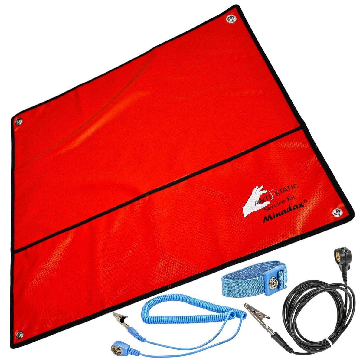 Minadax® 60 x 60cm Antistatik-Set: Antistatikmatte in rot, Handgelenksschlaufe und Erdungskabel - Für ein sicheres Arbeiten und Schutz Ihrer Bauteile vor Entladungsschaeden