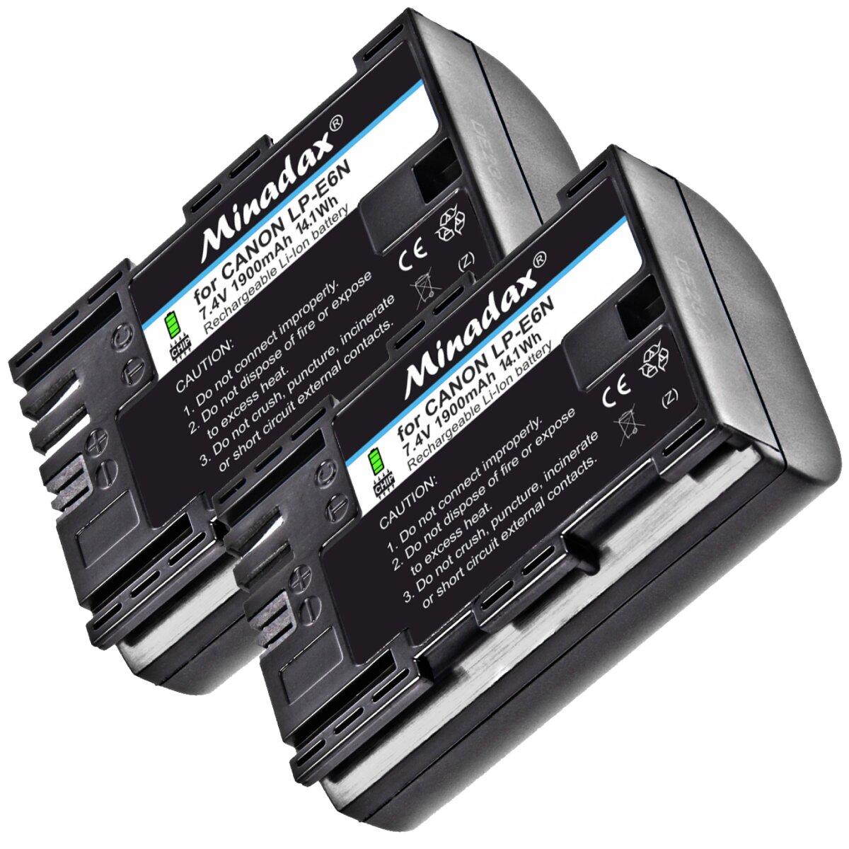 2x Power Akku 1900 mAh Ersatz für LP-E6 LPE6 Minadax® Qualitätsakku kompatibel mit Canon 80d, 70D, 60D, 60Da, 7D, 7D Mark II, 6D, 5D Mark III, 5D Mark II - Intelligentes Akkusystem mit Chip