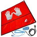 Minadax® 60 x 60cm Antistatik-Set: Antistatikmatte in Rot Handgelenksschlaufe und Erdungskabel + Antistatik Handschuhe - Fuer ein sicheres Arbeiten und Schutz Ihrer Bauteile vor Entladungsschaeden