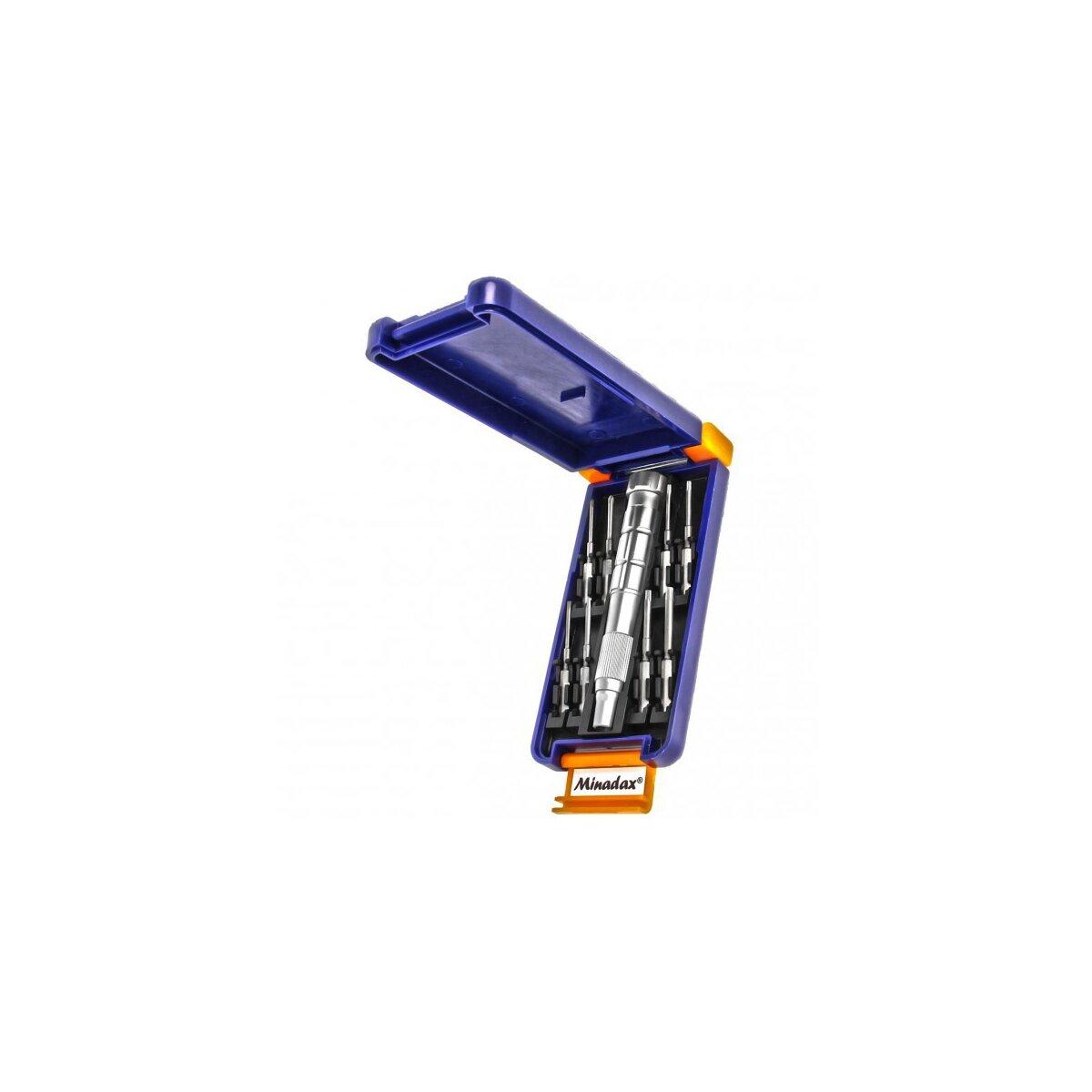 Hochwertiges Minadax® 9-Teiliges Werkzeugset aus stabilem Chrom-Vanadium fuer PC- und Laptop-Reparaturen - inklusive praktischer Aufbewahrungsbox
