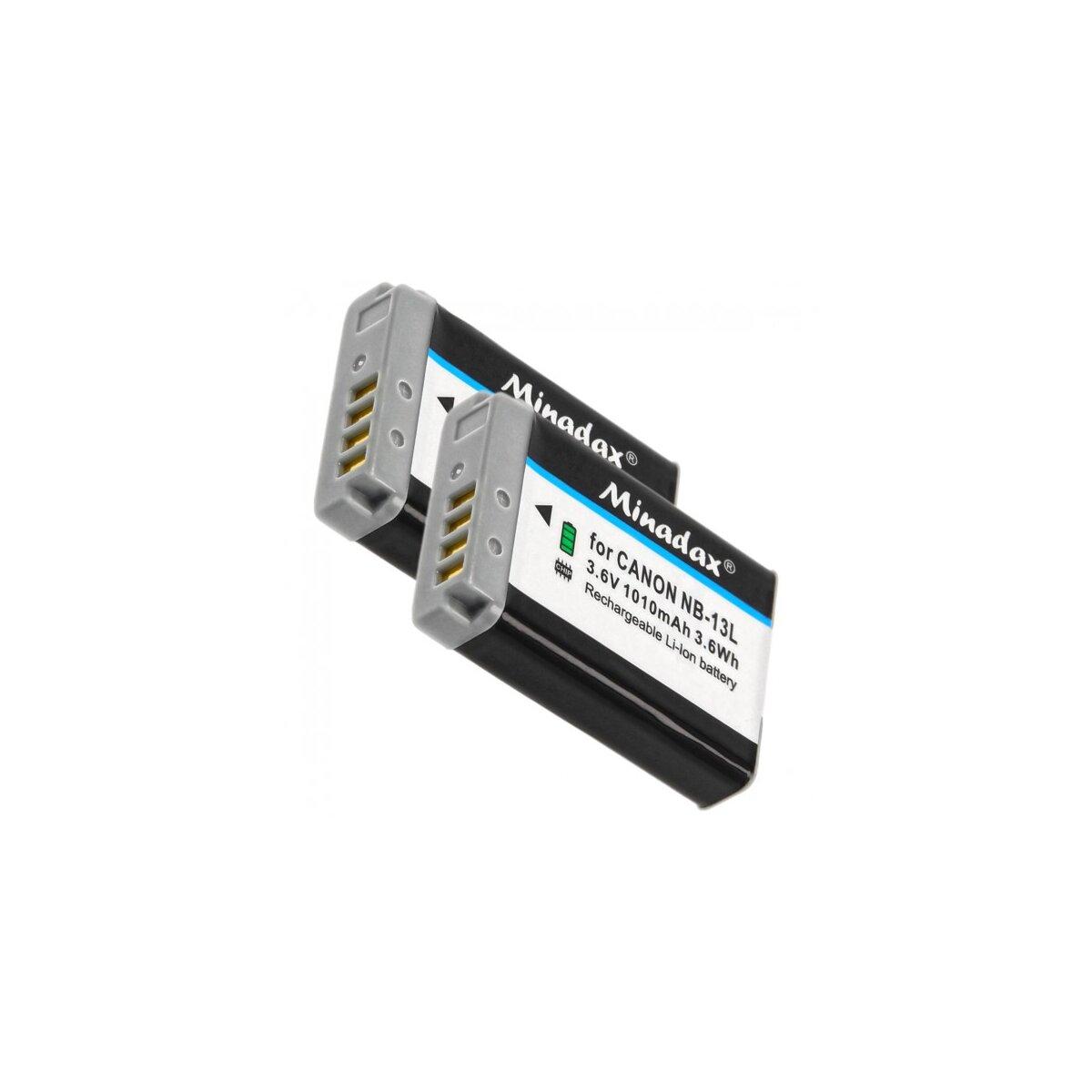 Minadax® 2x Qualitätsakku mit echten 1010 mAh kompatibel mit Canon Powershot G7 X, Ersatz für NB-13L - Intelligentes Akkusystem mit Chip