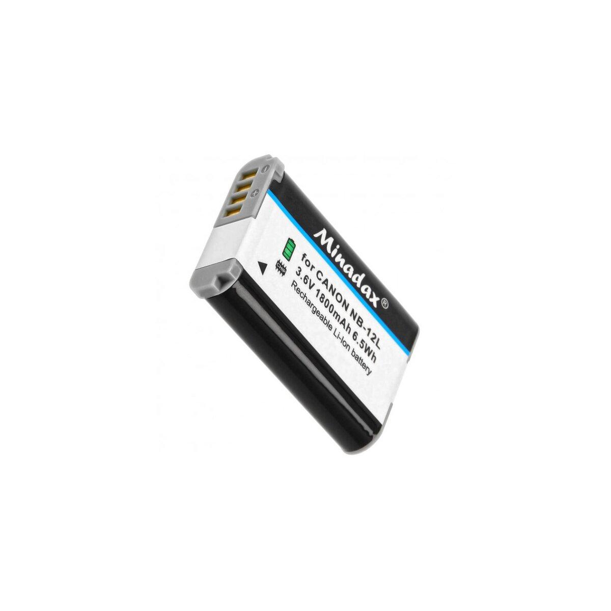 Minadax® Qualitätsakku mit echten 1800 mAh kompatibel mit Canon LEGRIA mini X / Canon VIXIA mini X / PowerShot G1 X Mark II, Ersatz für NB-12L - Intelligentes Akkusystem mit Chip