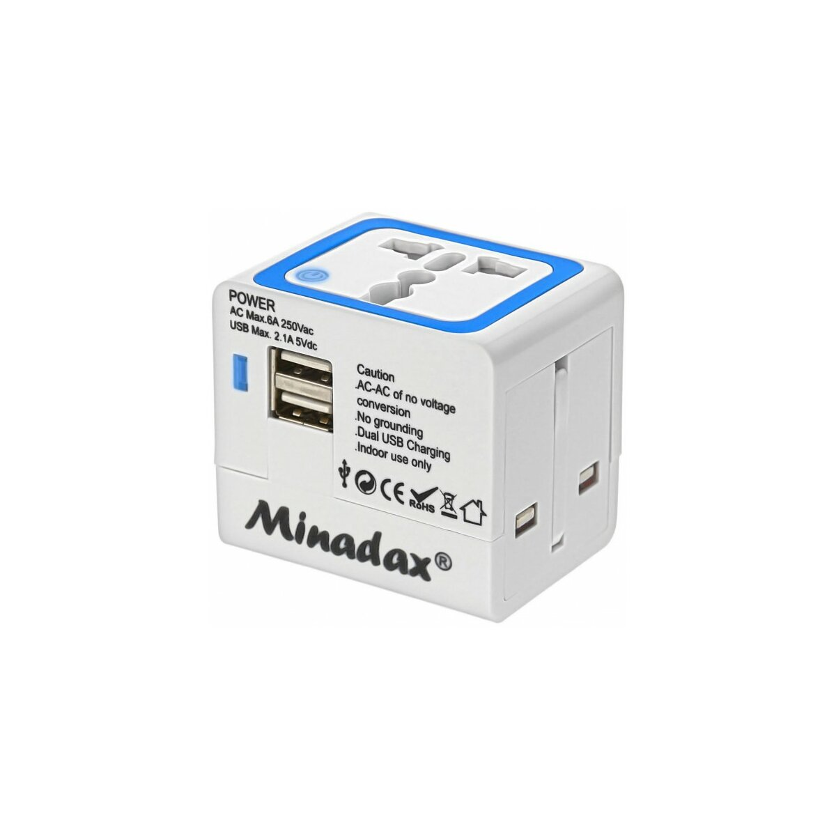 Minadax® Travel Adapter 2x USB 2.1A - SP-119