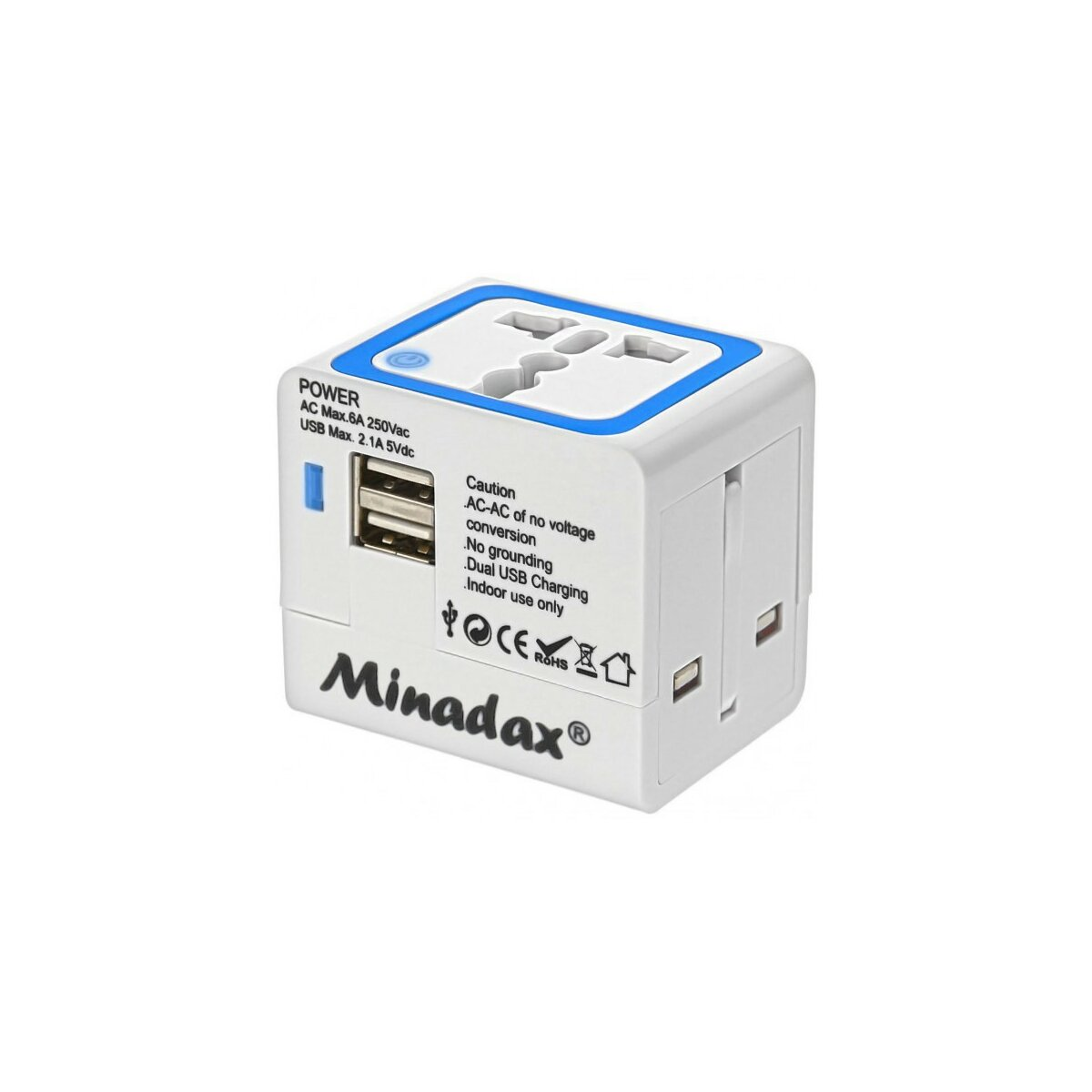 Minadax® All in One Travel Adapter 2x USB Power Ladegerät mit 2100mA , Reiseadapter für EU, USA, AUS, UK