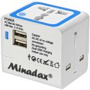 Minadax® All in One Travel Adapter 2x USB Power...