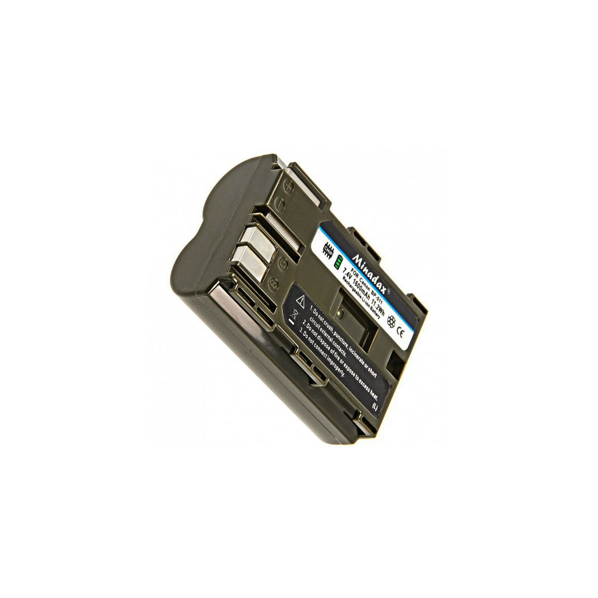 "Minadax PRO Li-Ion Akku ""Hohe Kapazität"" 1600 mAh kompatibel mit Canon - Ersatz für BP-511A"