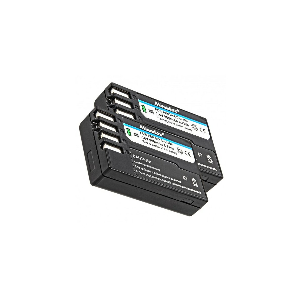 2x Minadax® Qualitaetsakku mit echten 900 mAh fuer Pentax K-r, K-30, wie D-LI109 - Intelligentes Akkusystem mit Chip
