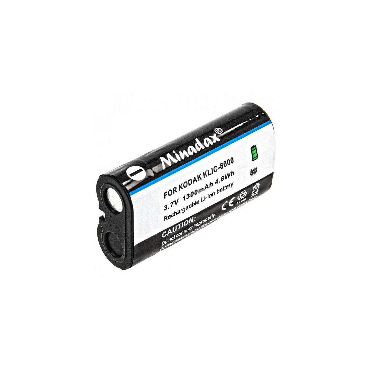 Minadax® Qualitaetsakku mit echten 1300 mAh fuer Kodak EasyShare Z612, Z712 IS, wie KLIC-8000 - Intelligentes Akkusystem mit Chip
