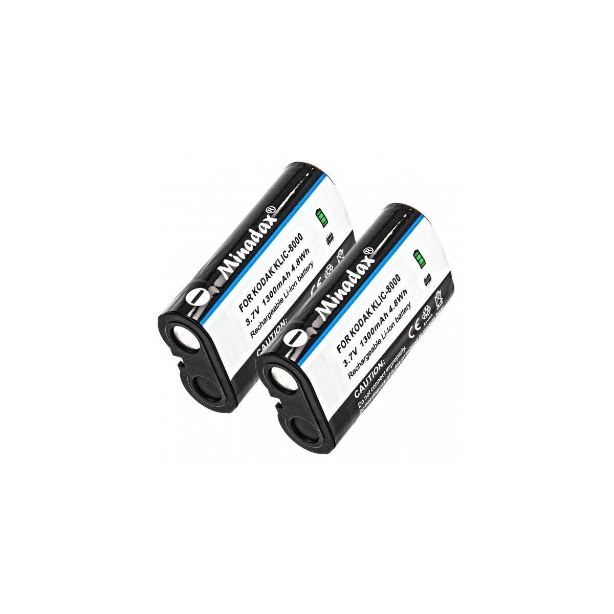 2 x Minadax® Qualitaetsakku mit echten 1300 mAh fuer Kodak EasyShare Z612, Z712 IS, wie KLIC-8000 - Intelligentes Akkusystem mit Chip