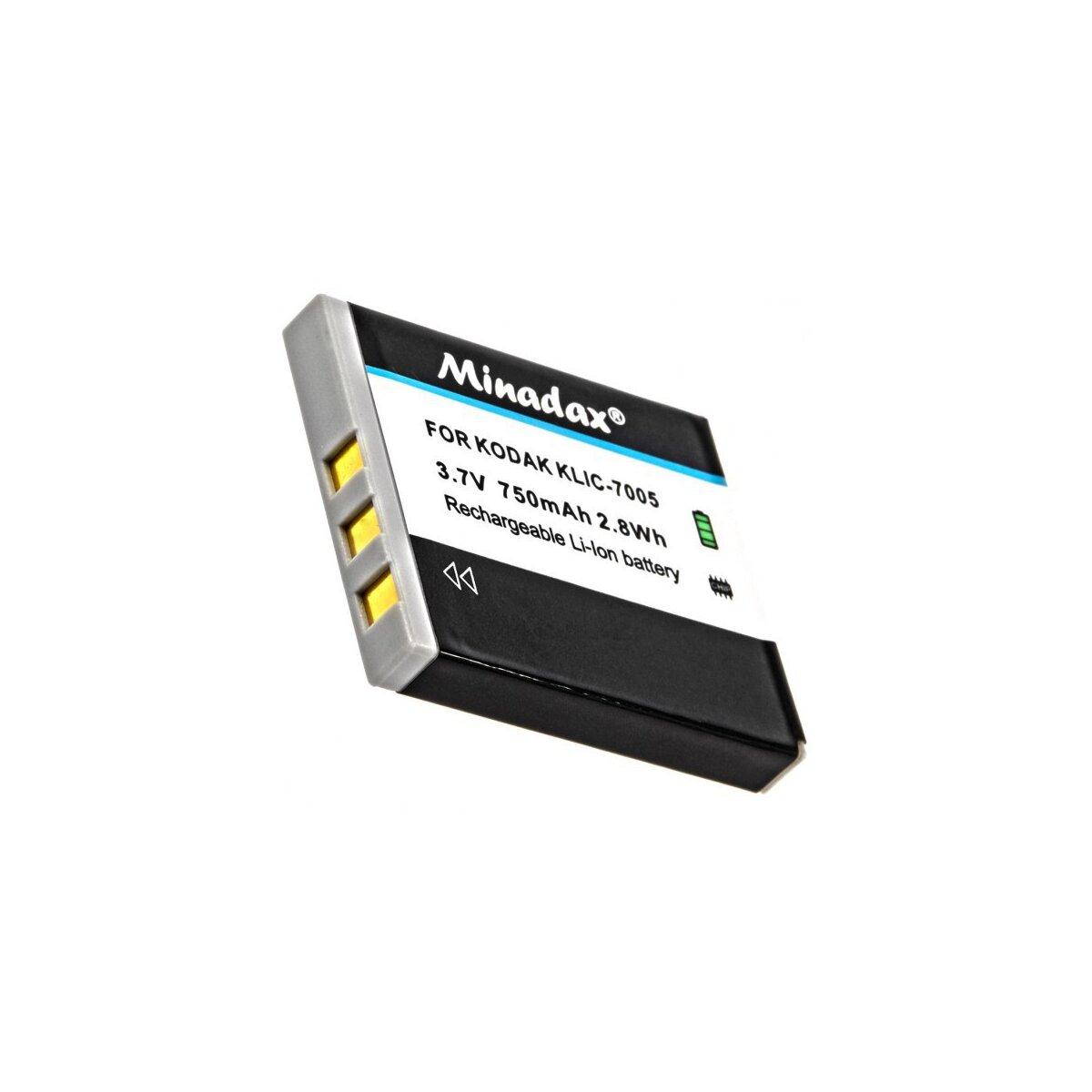 Minadax® Qualitaetsakku mit echten 750 mAh fuer Kodak EasyShare C763, wie KLIC-7005 - Intelligentes Akkusystem mit Chip