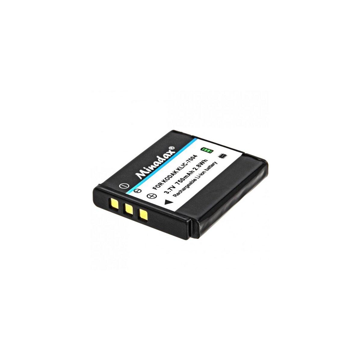 Minadax® Qualitaetsakku mit echten 750 mAh fuer Kodak Easyshare M1033 M1093IS V1073 V1233 V1253 V1273 M 1033 1093is V 1073 1233 1253 1273, wie KLIC-7004 - Intelligentes Akkusystem mit Chip