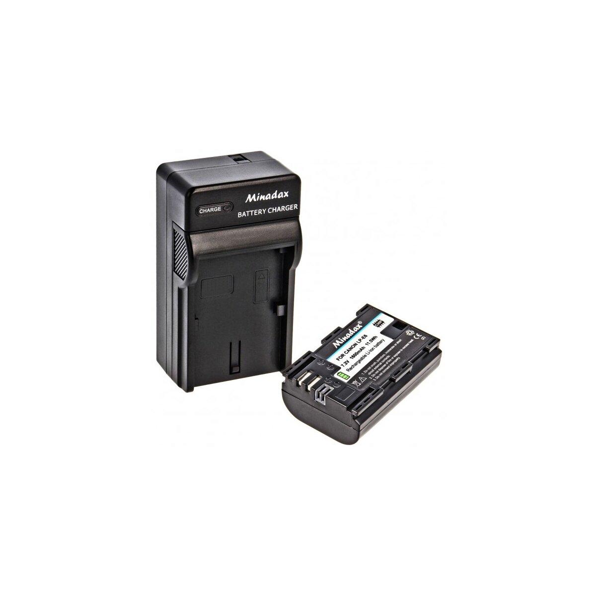 Minadax Li-Ion Akku Ersatz für LP-E6 LPE6 kompatibel mit Canon EOS 80D 70D 60D 60Da 7D 7D Mark II 6D 5D Mark IV, 5D Mark III, 5D Mark II + Minadax® Ladegerät inkl. Auto Ladekabel, Ladeschale austauschbar