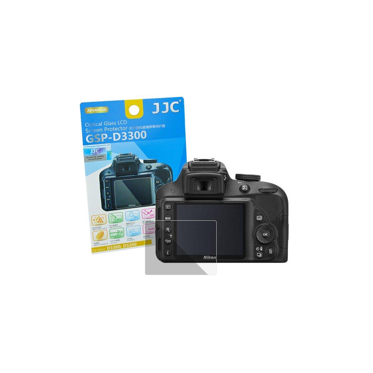Hochwertiger Displayschutz Screen Protector aus gehaertetem Echtglas, passend fuer Nikon D3300
