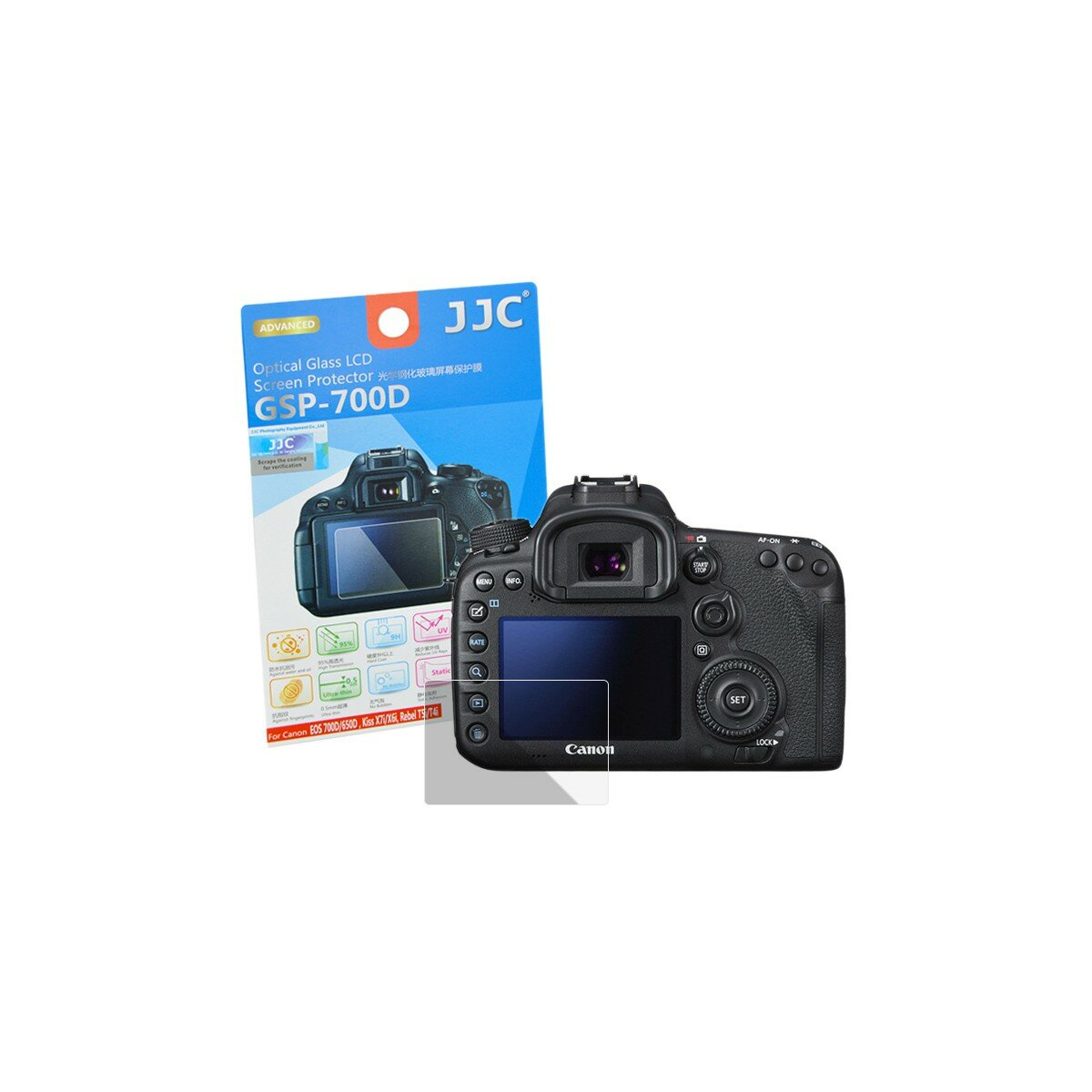 Hochwertiger Displayschutz Screen Protector aus gehaertetem Echtglas, passend fuer Canon EOS 700D