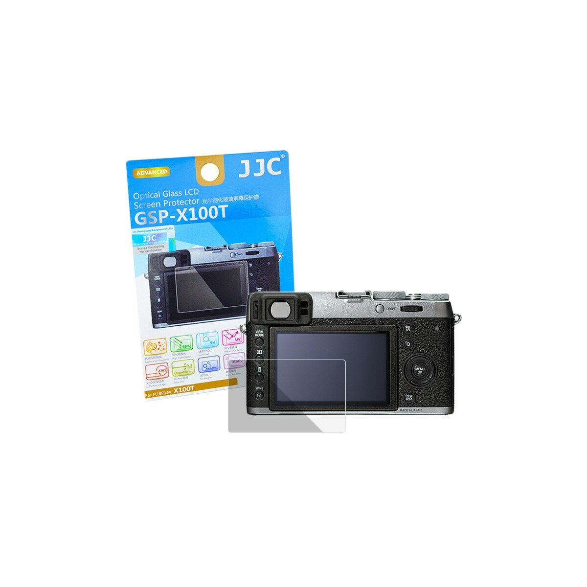 Hochwertiger Displayschutz Screen Protector aus gehaertetem Echtglas, passend fuer Fujifilm X100T