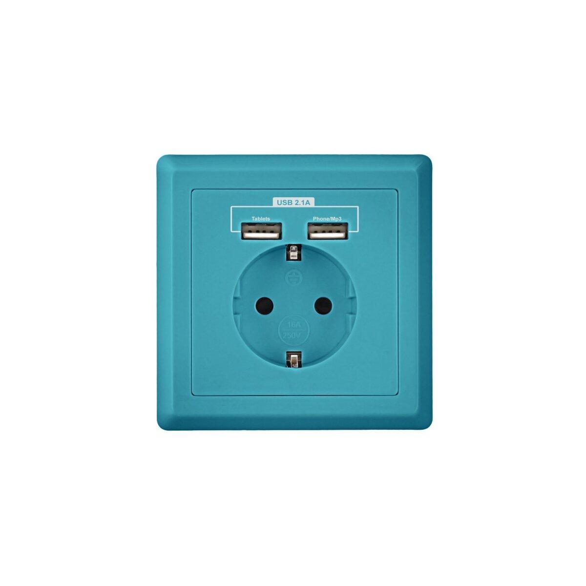 Blau - Minadax Schuko Steckdose mit 2 x USB Anschluss
