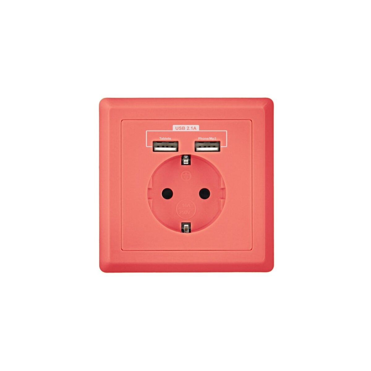 Pink - Minadax Schuko Steckdose mit 2 x USB Anschluss