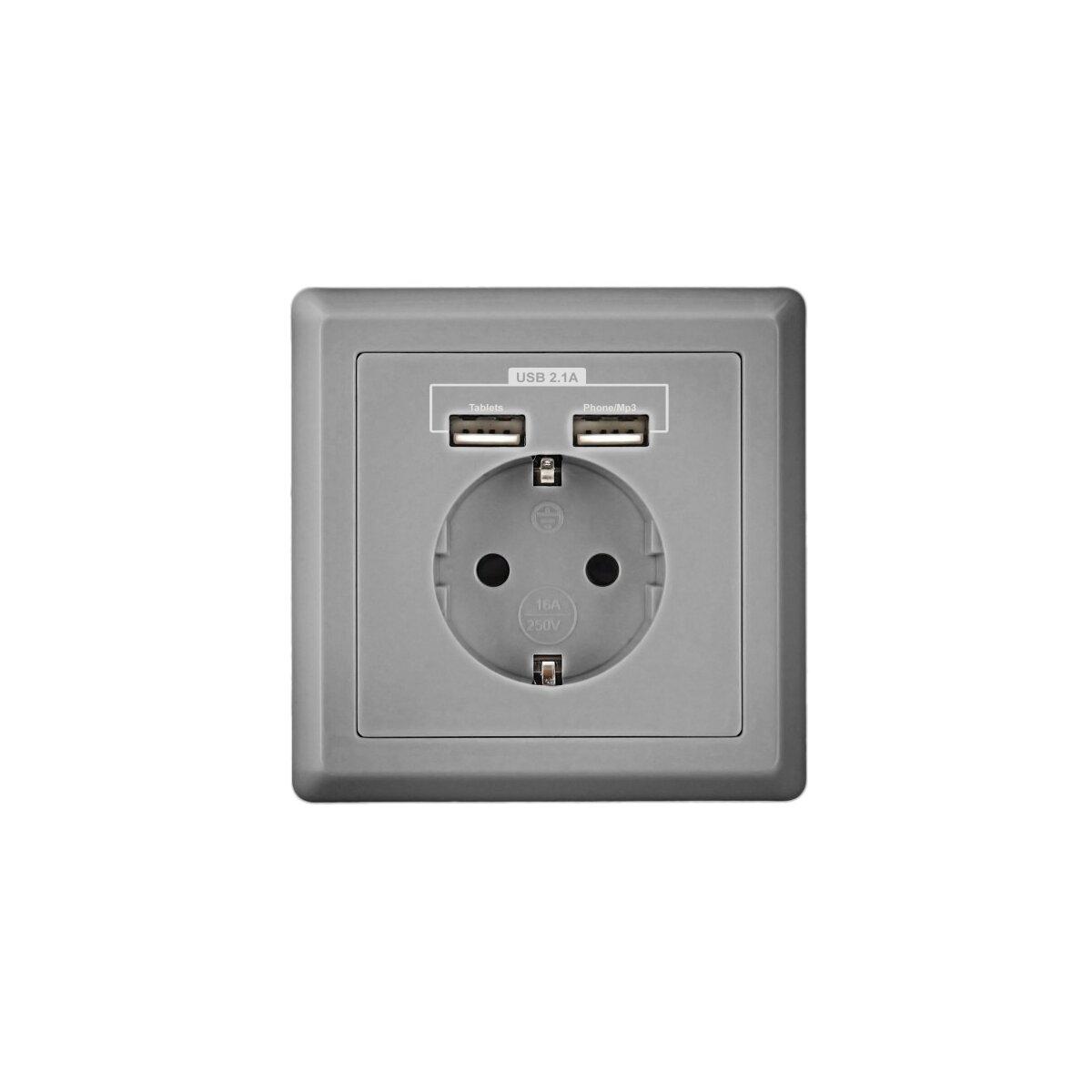 Silber - Minadax Schuko Steckdose mit 2 x USB Anschluss