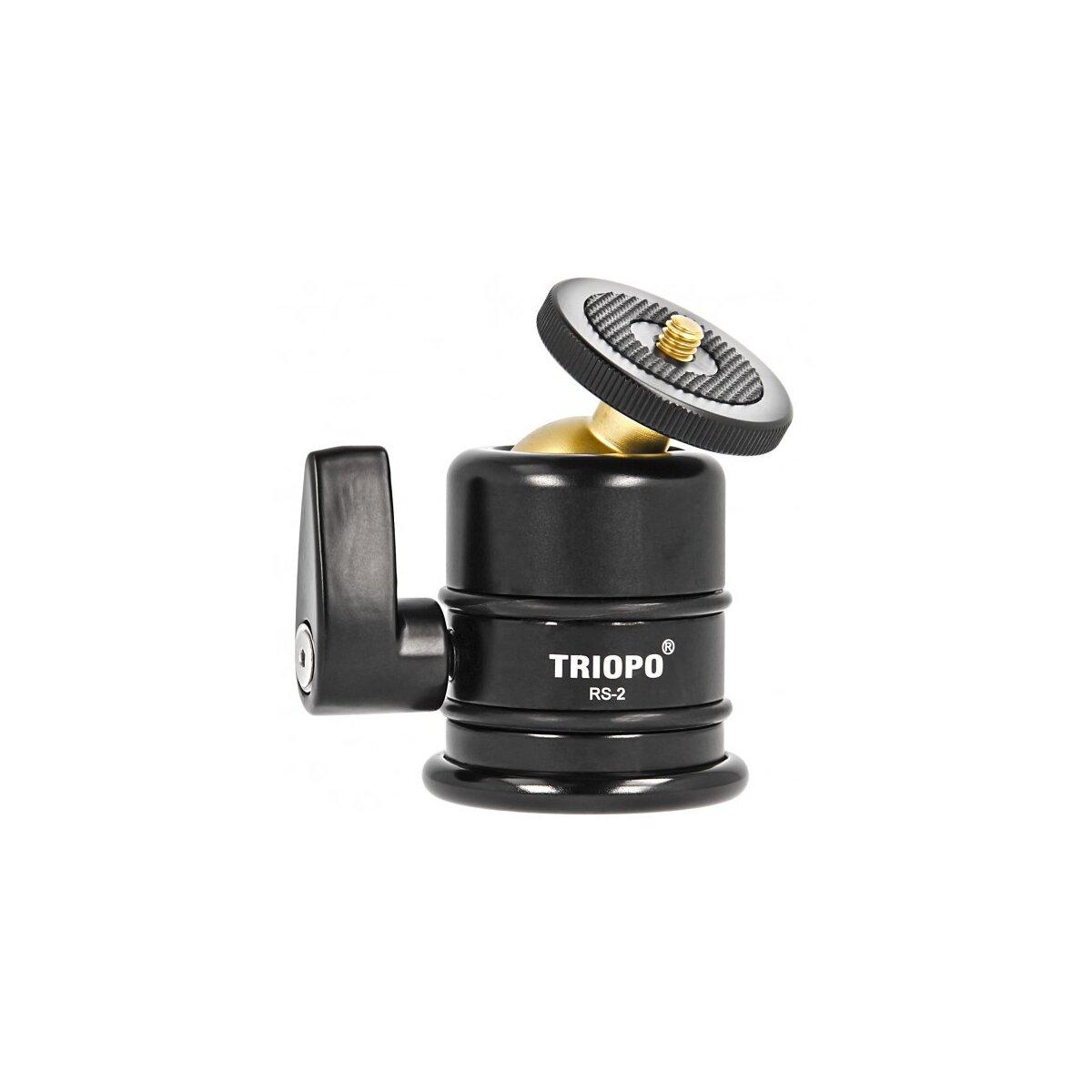 Triopo RS-2 kompakter und hochwertiger Panorama Kugelkopf mit 1/4 Zoll Schraube und 3/8 Zoll Gewinde - belastbar bis 15 kg - ideal geeignet fuer Fotostudios