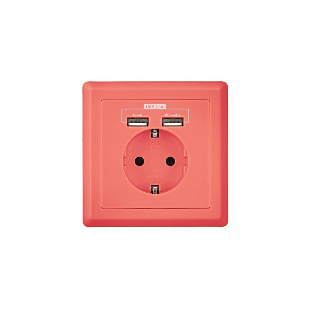 """Minadax Schutzkontakt Steckdose 230V 220V """"Pink"""" mit 2x USB Anschluss für das unkomplizierte Laden aller mobilen Geräte - unterputz"""