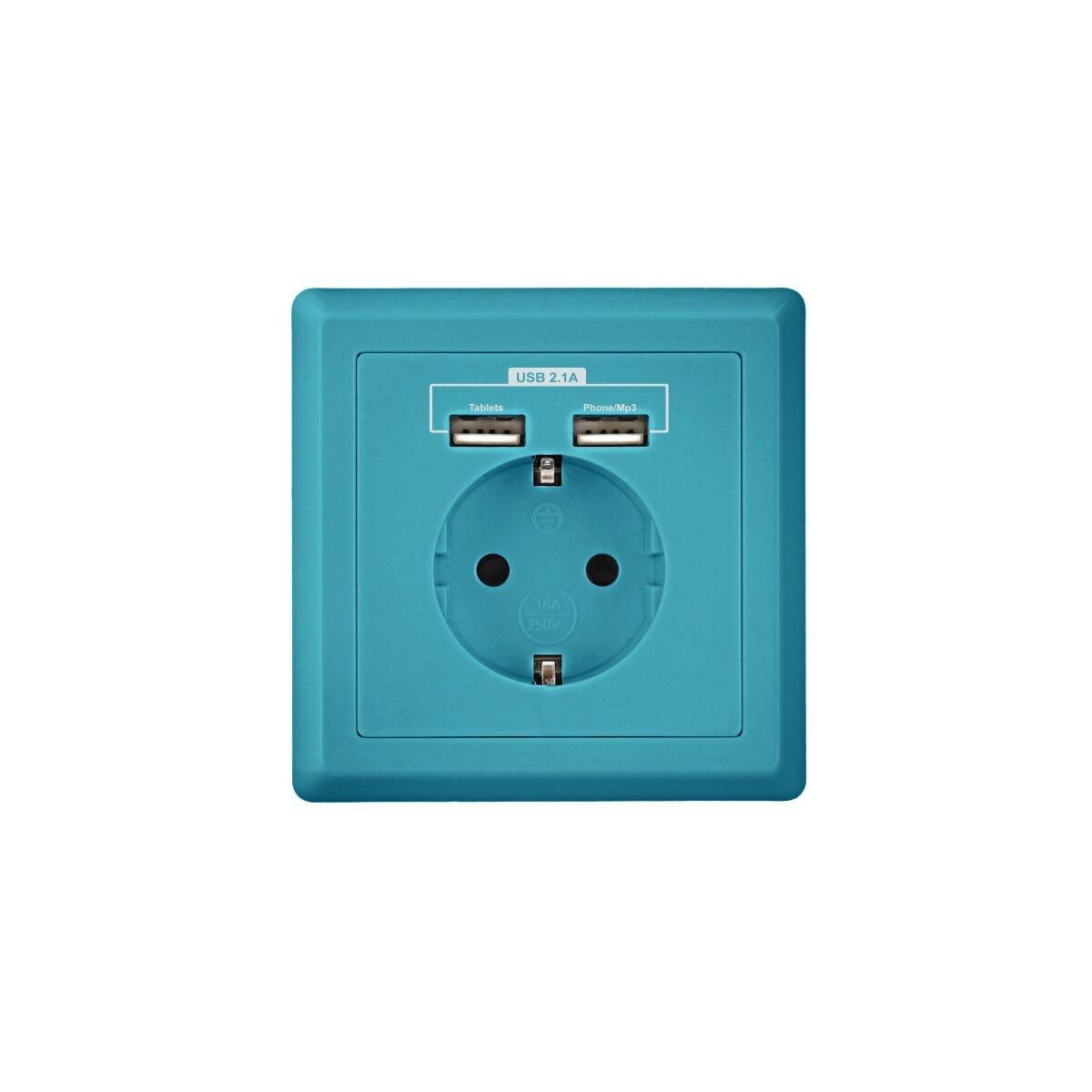minadax schutzkontakt steckdose 230v 220v blau mit 2. Black Bedroom Furniture Sets. Home Design Ideas