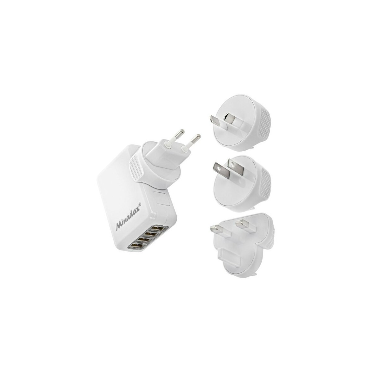 Minadax® Universal 4-Port USB 5V / 2.1A Reise Ladegerät, Travel Kit Charger
