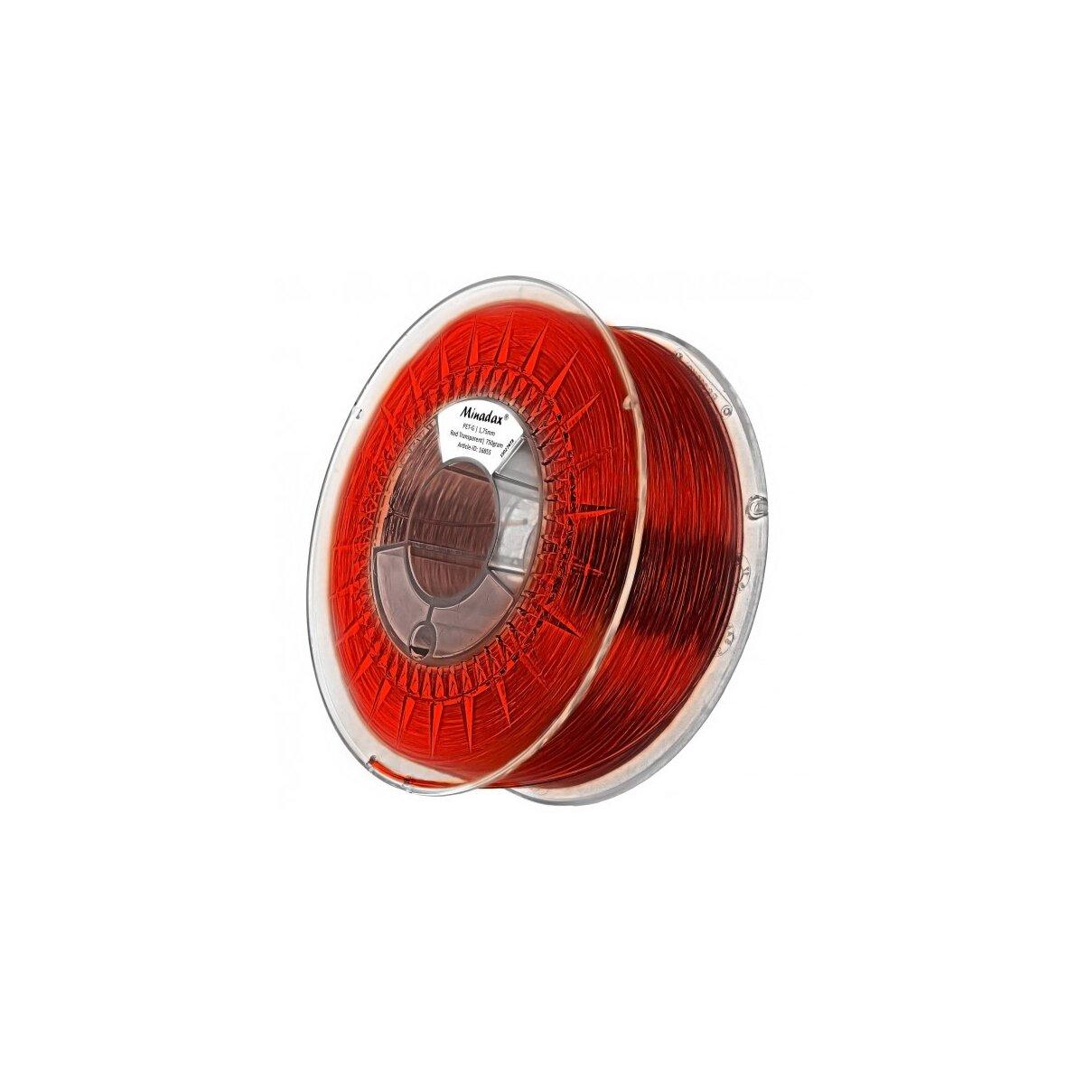 Minadax® 0,75kg Premium Qualitaet 1,75mm PET-G Filament rot transparent fuer 3D-Drucker hergestellt in Europa