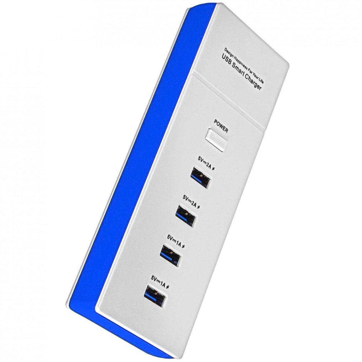 4 Fach USB Ladegerät / Leiste SP-880 Blau