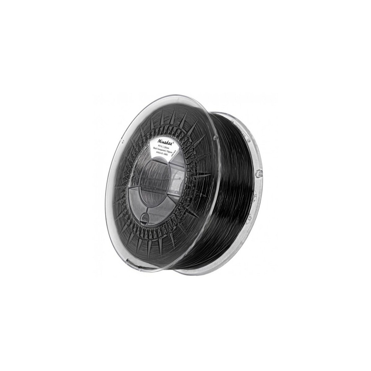 Minadax® 0,75kg Premium Qualitaet 3mm (2,85mm) PET-Filament schwarz transparent fuer 3D-Drucker hergestellt in Europa