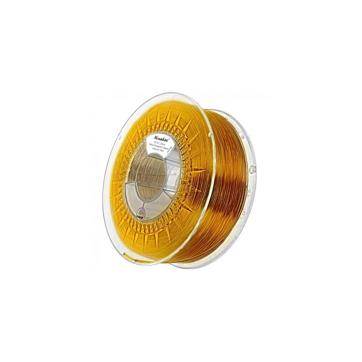 Minadax® 0,75kg Premium Qualitaet 1,75mm PET-G Filament gelb transparent fuer 3D-Drucker hergestellt in Europa