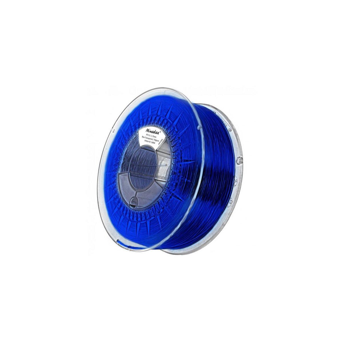 Minadax® 0,75kg Premium Qualitaet 1,75mm PET-G Filament blau transparent fuer 3D-Drucker hergestellt in Europa
