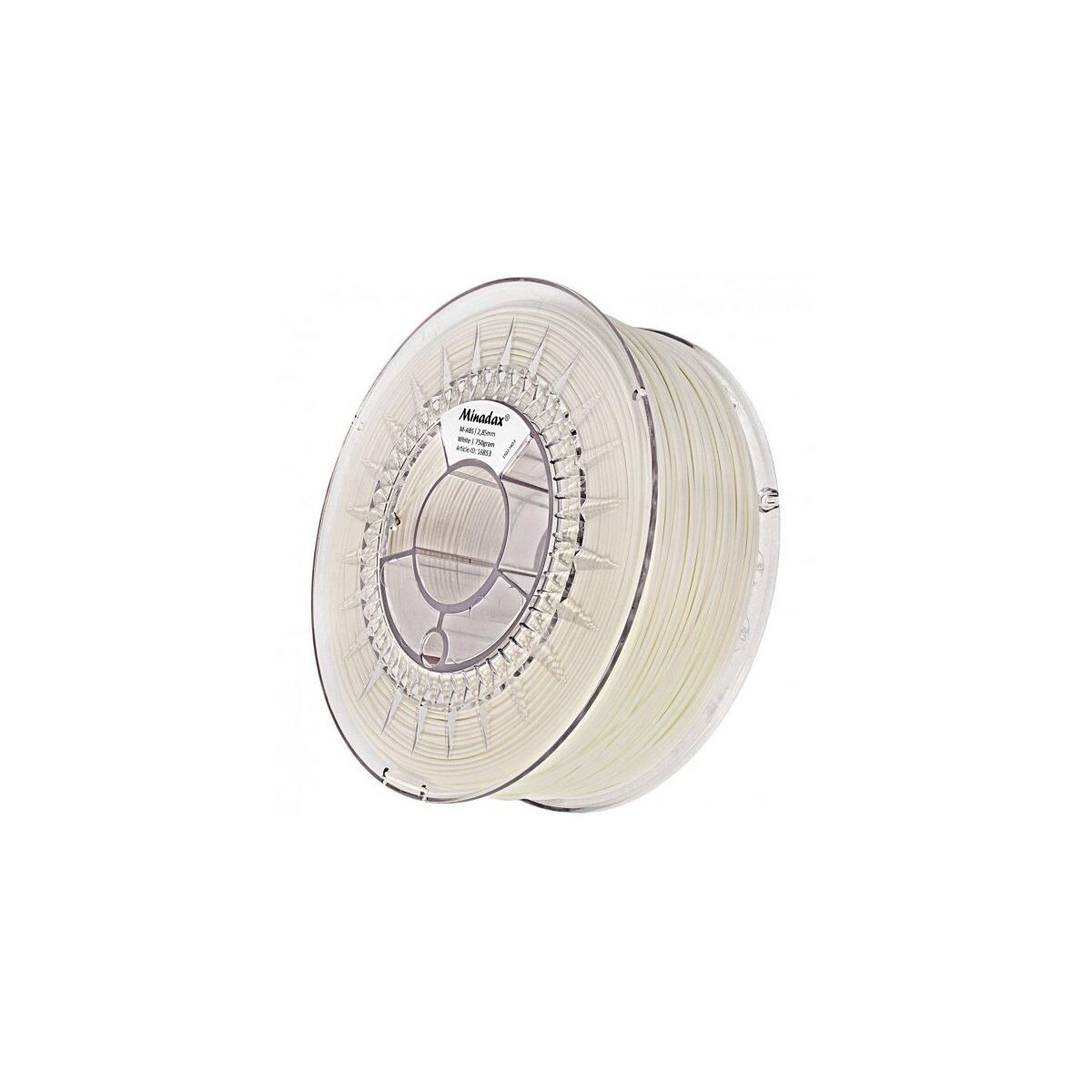 Minadax® 0,75kg Premium Qualitaet 2,85mm 3mm M-ABS-Filament weiß fuer 3D-Drucker hergestellt in Europa