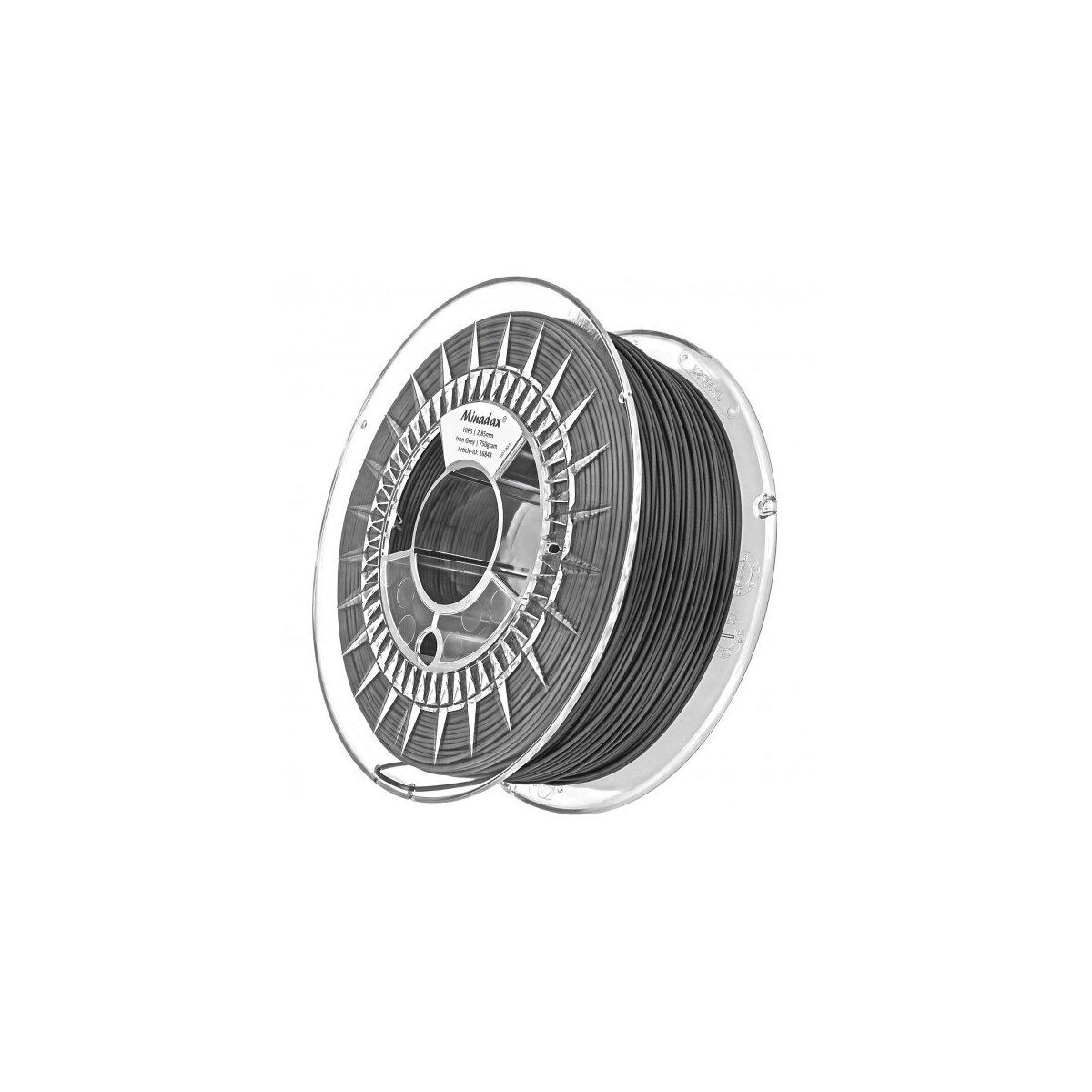 Minadax® 0,75kg Premium Qualitaet 3mm (2,85mm) HIPS-Filament stahlgrau fuer 3D-Drucker hergestellt in Europa