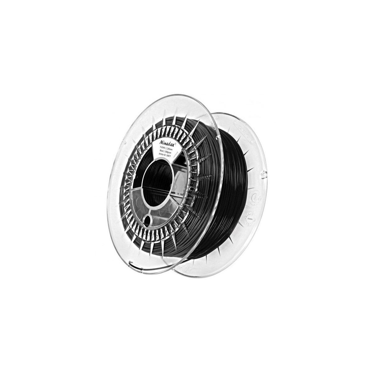 Minadax® 0,5kg Premium Qualitaet 2,85mm 3mm FLEX-Filament schwarz fuer 3D-Drucker hergestellt in Europa