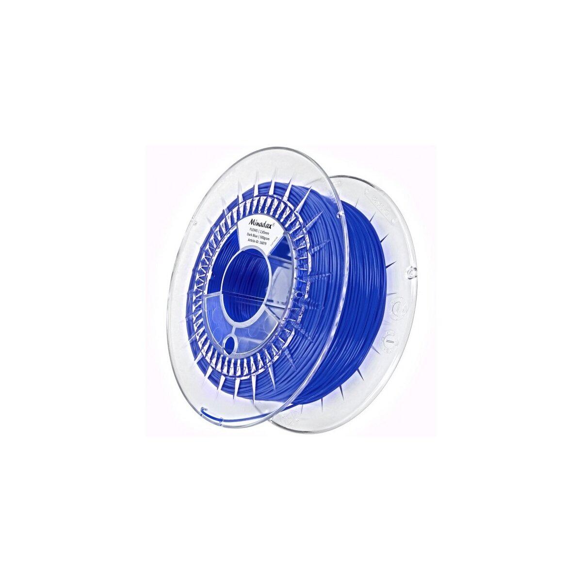 Minadax® 0,5kg Premium Qualitaet 2,85mm 3mm FLEX-Filament dunkelblau fuer 3D-Drucker hergestellt in Europa