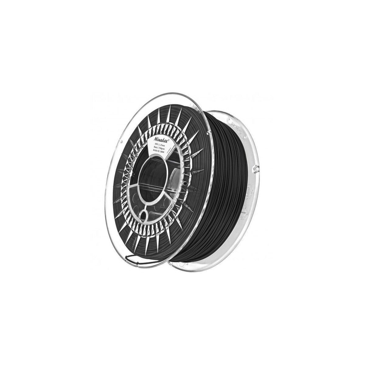 Minadax® 0,75kg Premium Qualitaet 1,75mm HIPS-Filament schwarz fuer 3D-Drucker hergestellt in Europa