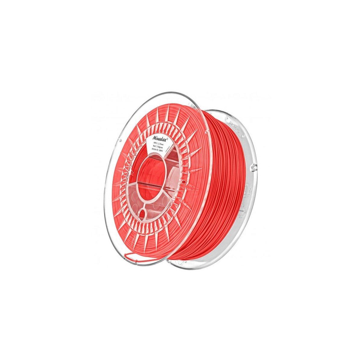Minadax® 0,75kg Premium Qualitaet 1,75mm HIPS-Filament rot fuer 3D-Drucker hergestellt in Europa