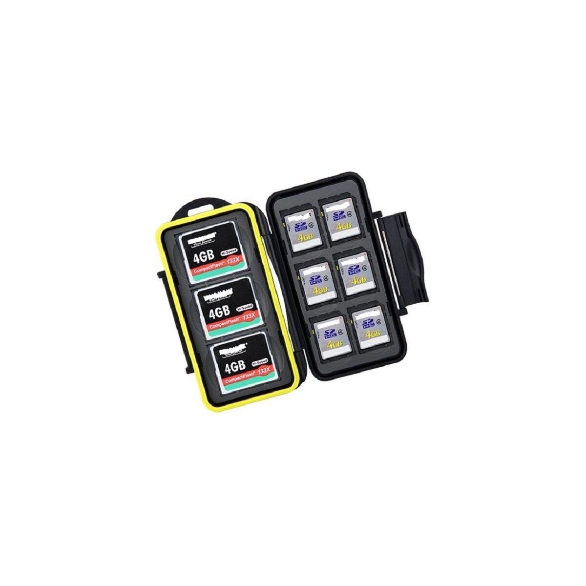 Wasserdichtes Speicherkarten Hardcase Etui Schutzbox fuer 6x SD und 3x CF Compact Flash