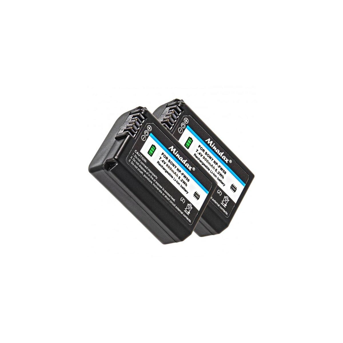 2x Minadax Qualitätsakku mit echten 900 mAh kompatibel für Sony A55, A33, A35, A37, NEX-6, NEX-7 Serie, NEX-3 Serie, NEX-5 Serie etc – Ersatz für NP-FW50 - Intelligentes Akkusystem mit Chip