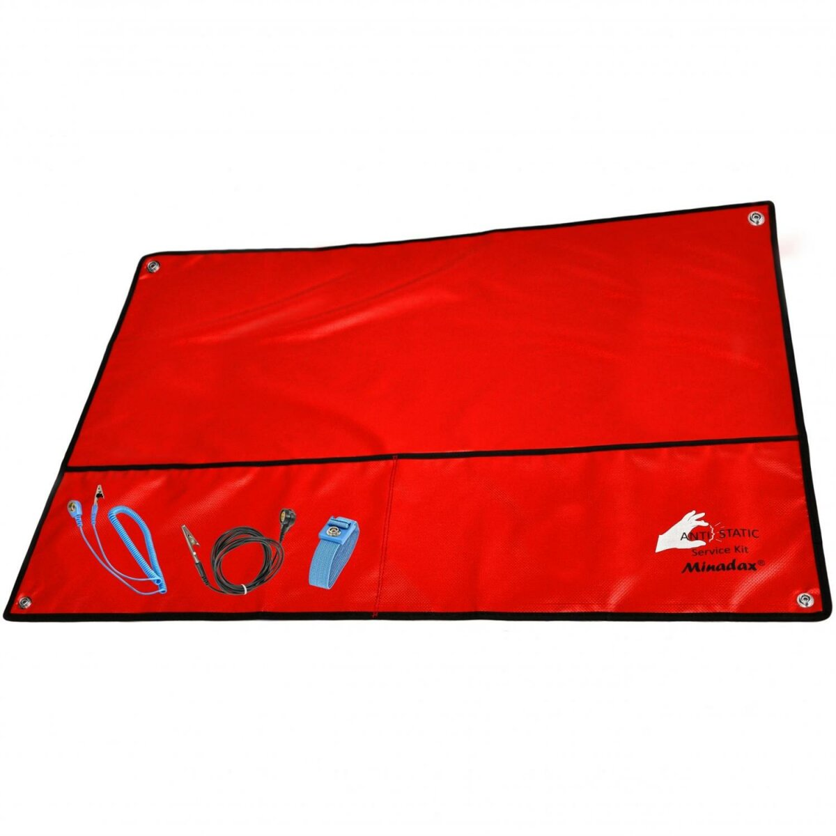 Minadax® XXL 60 x 80cm Antistatikmatte in Rot, 4 Anschluesse, ESD Armband und Erdungskabel - z.B. fuer Arbeiten am PC-Tower