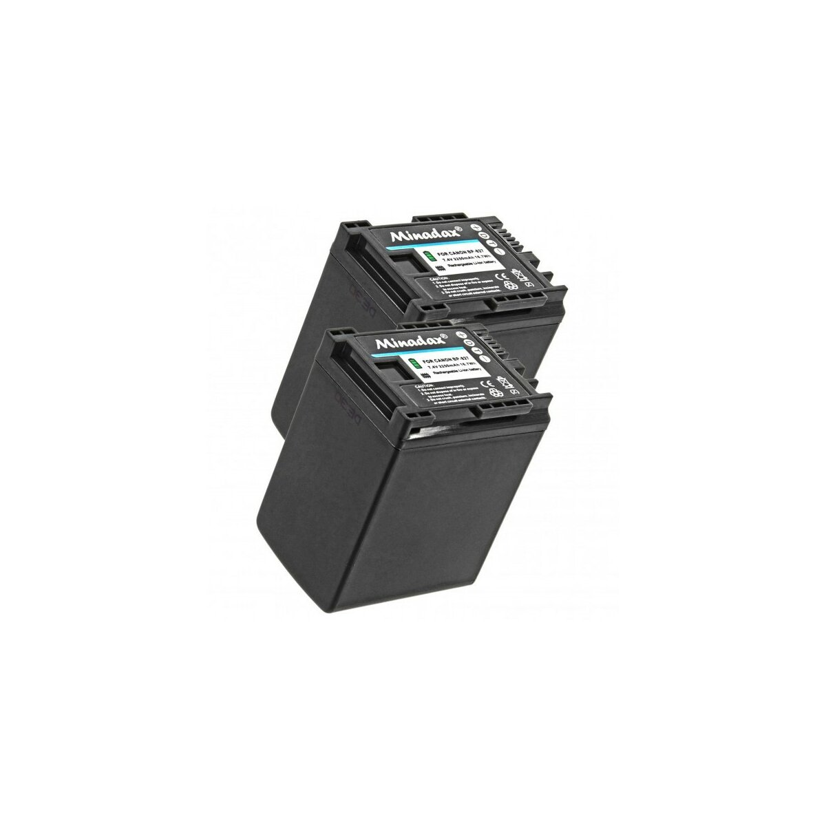 Minadax® 2x Qualitätsakku mit echten 2250 mAh kompatibel mit Canon XA20 XA25 LEGRIA HF G30 G25 G20 G10 M30 M31 M32 M40 M41 M300 M301 M400 S10 S11 S1400, Ersatz für BP-827 - Intelligentes Akkusystem mit Chip